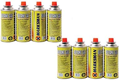8 Butane Gas Bottles Canister Camping Heater Cooker Bbq