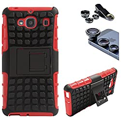 DMG Dual Hybrid Hard Grip Rugged Kickstand Armor Case for Xiaomi Redmi 2 Prime (Red) + 3in1 Fisheye Wide Angle and Macro Lens