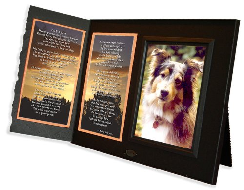 Pet Loss Sympathy Picture Frame Gift and Memorial Keepsake I'm Still Here Poem, Black with Foil Accent