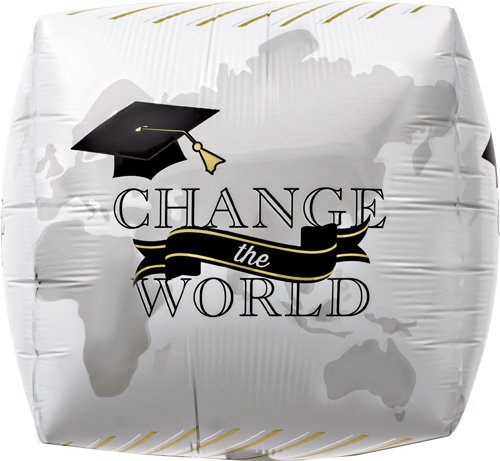 Change the World Grad Cube Helium Foil Balloon - 17 inch