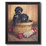 Country Apples Puppy Dogs Kids Room Kitchen Wall Picture Black Framed Art Print