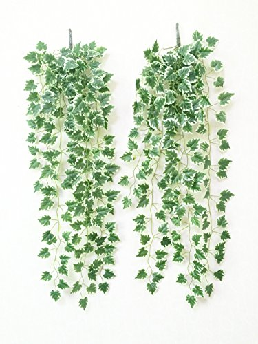 Yatim 90 CM White Grape Ivy Vine Artificial Plants Greeny Chain Wall Hanging Leaves For Home Room Garden Wedding Garland Outside Decoration Pack of 2
