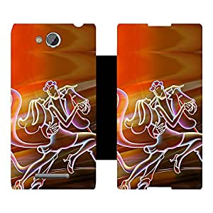 Skintice Designer Flip Cover with hi-res printed Vinyl sticker wrap-around for Sony Xperia C C2305