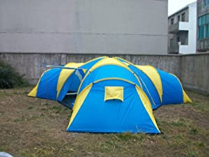 Peaktop Waterproof 2000mm 190T polyester outdoor 3 Season 9-12 Person 3+1 Room Family Traveling Group Camping Tent