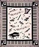 "Music Notes Piano & Instruments Afghan Throw Blanket 50"" x 60"""