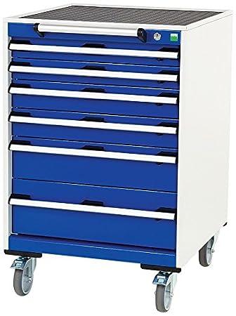 Bott Cubio 6-Drawer Mobile Cabinet, Metal, Grey/Blue