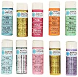 Martha Stewart Crafts Pearl & Metallic Acrylic Craft Paint Set (2-Ounce), 32310 (10 Colors)