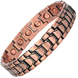 MPS Mens Copper Magnetic Therapy Bracelet with clasp and 3,000 gauss Neodymium Magnets - Large - 21.5 cm