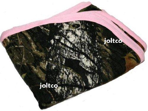 JLCK Mossy Oak Camo Baby Blanket with Pink Trim