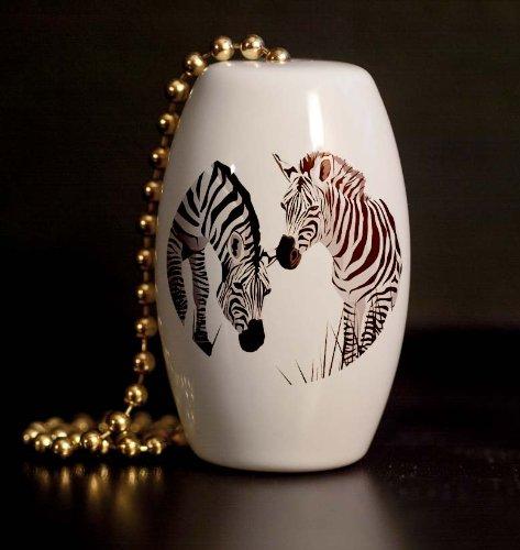 Zebra Pair Porcelain Fan / Light Pull front-1011497