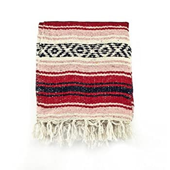 Mexican Blanket Serape colors red, pink & black
