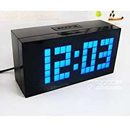 Amyove LED Digital Wall Clock Table Desk Alarm Thermometer Date Timer Countdown Snooze Blue