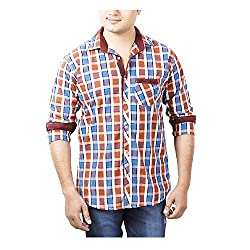 Aedi's Men Cotton Casual Checkered Shirts (SR56_Red_M)