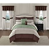 Victoria Classics Seville 20 Pc King Comforter Set Reversible, Sage Green & Brown