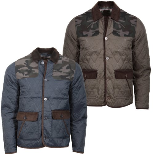4B New Mens Quilted Multi Pocket Jacket Coat Button Up Cord Back Trim Detail Fashion Size SMALL