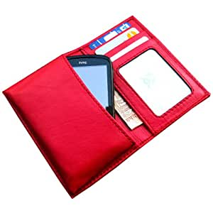 i-KitPit Genuine Leather Wallet Flip Pouch Case For Lenovo P780 (Red)