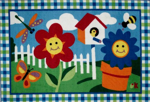 Roule Olive Kids Collection Happy Flowers 19X29 Inch Kids Area Rugs