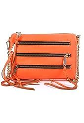 Rebecca Minkoff Mini 5 Zip Clutch Neon Orange Leather Shoulder Bag Purse