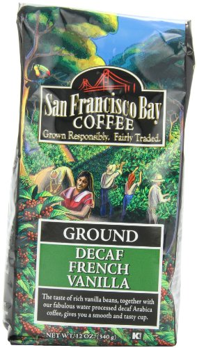 San Francisco Bay Coffee Ground Decaf French Vanilla Coffee, 12-Ounce Bag