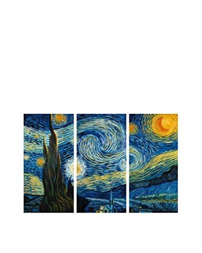 Arte Dal Mondo Pintura al Óleo sobre Linezo 3 Piezas Van Gogh Notte Stellata