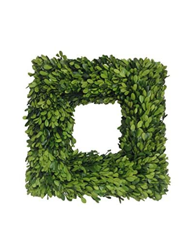 Mills Floral 16″ Boxwood Country Manor Square Wreath
