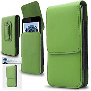 iTALKonline Motorola ATRIX TV XT687 Green PREMIUM PU Leather Vertical Executive Side Pouch Case Cover Holster with Belt Loop Clip and Magnetic Closure