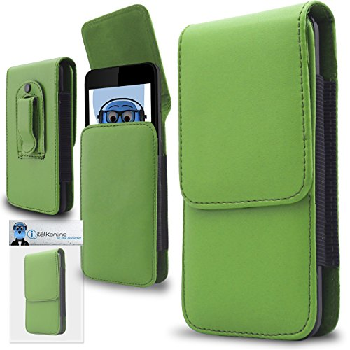 iTALKonline ZTE V889M Green PREMIUM PU Leather Vertical Executive Side Pouch Case Cover Holster with Belt Loop Clip and Magnetic Closure