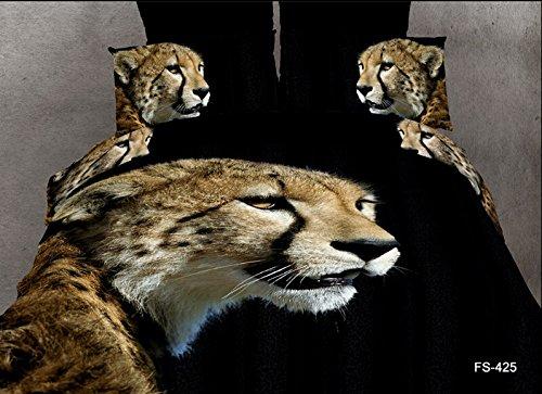Queen Size 100% Cotton 4-Pieces 3D Leopard Black Animal Prints Duvet Cover Set/Bed Linens/Bed Sheet Sets/Bedclothes/Bedding Sets/Bed Sets/Bed Covers/5-Pieces Comforter Sets (5) front-991614