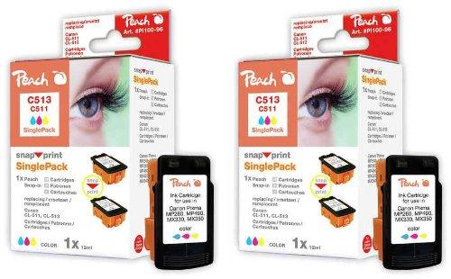 Peach C513/C511 y Doppelpack Tintenpatronen kompatibel zu Canon, Xerox, Apple BJI-201, gelb