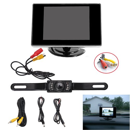 """Agptek® Waterproof Vehicle Car Rear View Backup License Plate Camera With Night Vision + 3.5"""" Tft Lcd Monitor Screen(Not Fit For Truck , Cargo Van And Long Vehicle)"""