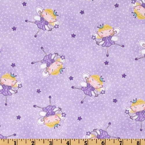 com: 44'' Wide Comfy Flannel Fairy Princess Purple Fabric By The Yard