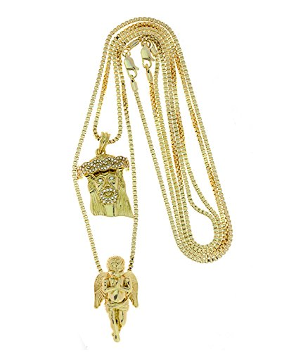 Gold-Tone 2 Piece Jesus Angel Micro Pendant Necklace Set w/ Box Chain RC186G