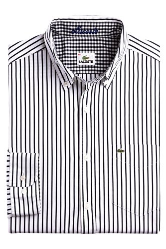 Long Sleeve Stripe Poplin Shirt With Button Down Collar