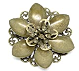 10 Bronze Tone Flower Round Raised Filigree Stamping Jewelry Connectors 2 Inches
