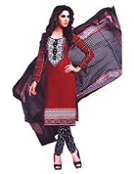 Namaskaar India Stylish Red & Black Printed Salwar Suit Dupatta Material For Women