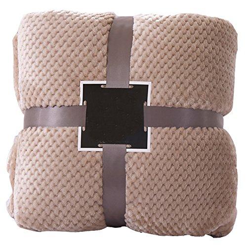 xytmy reversibile Coperta super morbida e calda fibra di poliestere letto divano grande coperta per la casa Brown