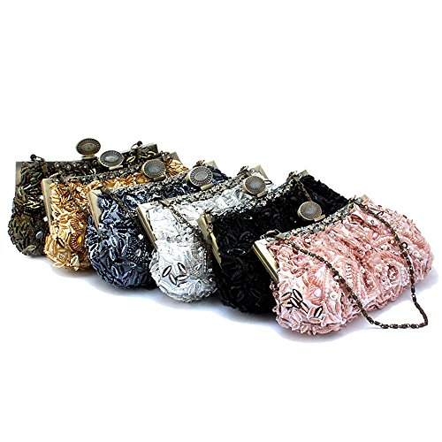 MZZ BEA011 Vintage Beaded bag Fahion Evening Purse Wedding Prom Clutch W Chain
