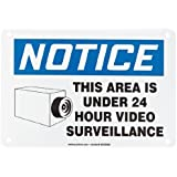 """Accuform Signs MASE806VA Aluminum Safety Sign, Legend """"NOTICE THIS AREA IS UNDER 24 HOUR VIDEO SURVEILLANCE"""" with Graphic, 7"""" Length x 10"""" Width x 0.040"""" Thickness, Blue/Black on White"""