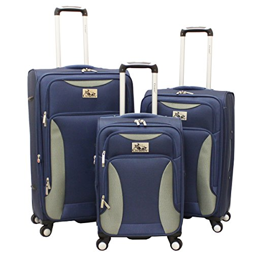 Chariot Bari 3-Piece Lightweight Upright Spinner Luggage Set - Navy front-608641