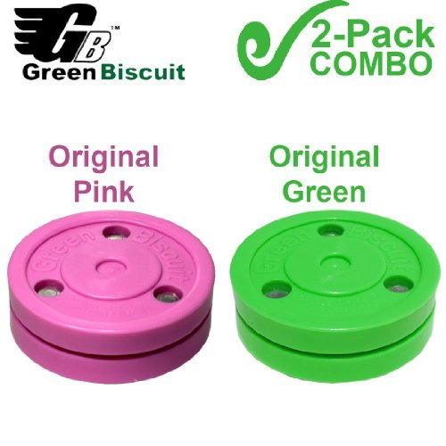 """Green Biscuit 2-Pack """"BLUSH"""" Pink and Standard Green Biscuit Street Hockey Passing Pucks"""