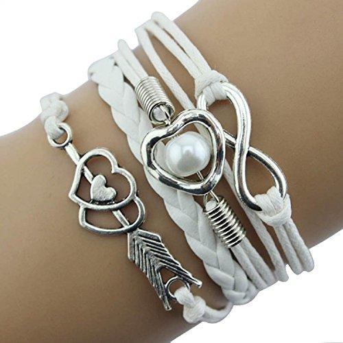 Sannysis DIY Love Heart Pearl Friendship Antique Leather Charm Bracelet (White)