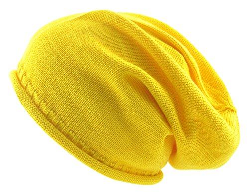 100% cotone estate Slouchy Beanie, Supporto 13colori Luce Peso Slouch cappello cappelli Yellow Taglia unica