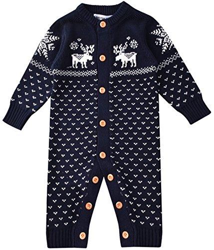 ZOEREA maglione bambino tutine neonato unisex bambino tutina appena nato pagliaccetto manica lunga Natale maglioni cervo cotone pullover lavorato a maglia
