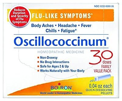 Boiron Oscillococcinum for Flu-like Symptoms Pellets, 30 Count/0.04 Oz each, Pack of 2