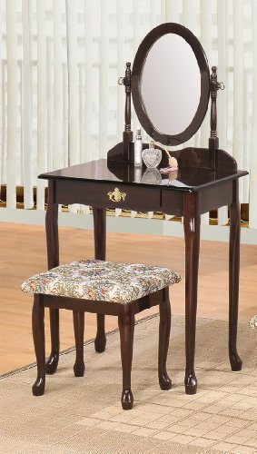 ABC Queen Ann Vanity Set Espresso Finish