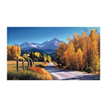 York Wallcoverings Lake Forest Lodge WG0310M Autumn Landscape Mural Multi