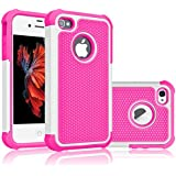 iPhone 5S Case, Tekcoo(TM) [Tmajor Series] [White/Pink] iPhone 5 5S Case Shock Absorbing Hybrid Best Impact Defender Rugged Slim Cover Skin Shell w/ Hard Plastic Outer & Rubber Silicone Inner