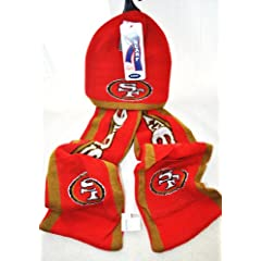 NFL San Fransisco 49ers Knit Nfl official Hoody Scarf NEW by forever