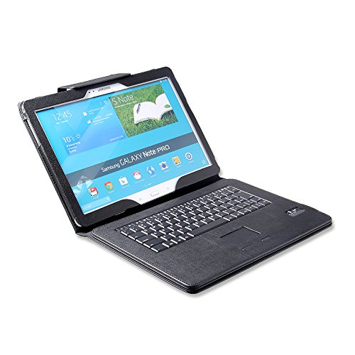 Newstyle Samsung Galaxy Note Pro 12.2 Bluetooth Touchpad Keyboard Portfolio Case - Detachable Romovable Touchpad Bluetooth Keyboard Stand Case Cover For Samsung Galaxy Note Pro 12.2 P900 P905 Tablet