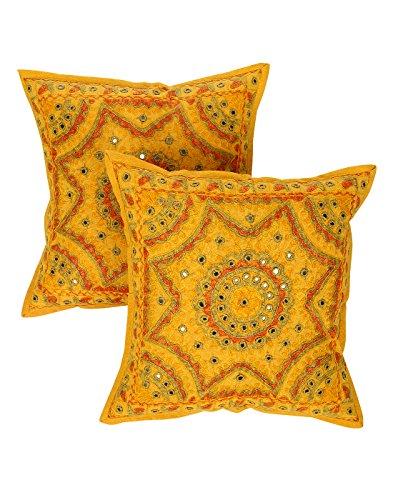 Rajrang Promin anatra Cuscino Specchio lavoro giallo senape cotone cuscino cover coppia